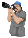 Vector of photographer taking picture with slr camera. Stock Photo