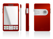 Vector photorealistic illustration of red PDA vector illustration