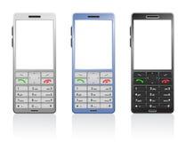 Vector photorealistic kleurentelefoons Stock Afbeelding