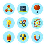 Vector physics icon set in modern flat style. Royalty Free Stock Photography
