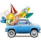 Vector Pickup Truck with Beach Accessories Stock Images
