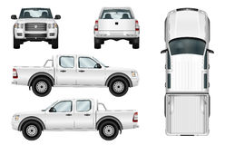 Vector pickup truck on white background Stock Photos