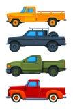 Vector pickup trucks. Various illustrations of transport stock illustration
