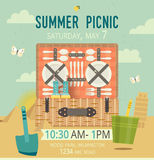 Vector picnic on the beach card. Food and pastime illustration. Flat. Barbecue items. Design of invitation family card Royalty Free Stock Photos