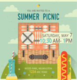 Vector picnic glade card. Food and pastime illustration. Flat. Design of invitation family card. Barbecue items. Design of invitation family card with spring vector illustration