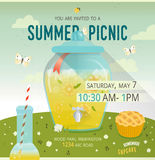 Vector picnic glade card. Food and pastime illustration. Glass dispenser with lemonade. Design of invitation card Stock Photography