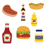 Vector Picnic Grill Foods and Condiments Illustration royalty free stock photo
