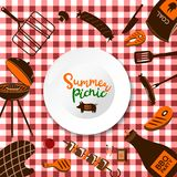 Vector realistic 3d illustration of white empty plate, gingham red plaid on green grass lawn. Spring, summer picnic in stock illustration