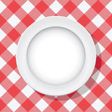 Vector picnic tablecloth and empty plate. Vector red picnic tablecloth and empty plate Stock Image