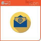 Vector pictogram op witte achtergrond Ontwerpertendens E-mailpictogram nieuwe post Knoop voor mededeling Royalty-vrije Stock Afbeeldingen
