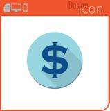 Vector pictogram op witte achtergrond Ontwerpertendens Het Pictogram van de dollarmunt, geld De uitwisseling van de munt Voor geb Royalty-vrije Stock Fotografie