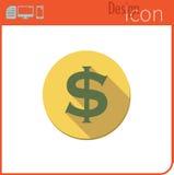 Vector pictogram op witte achtergrond Ontwerpertendens Het Pictogram van de dollarmunt, geld De uitwisseling van de munt Voor geb Royalty-vrije Stock Afbeelding