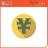 Vector pictogram op witte achtergrond Ontwerpertendens Yuan Icon-munt, geld De uitwisseling van de munt Voor gebruik op de Websit Royalty-vrije Stock Afbeeldingen