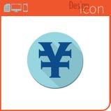 Vector pictogram op witte achtergrond Ontwerpertendens Yuan Icon-munt, geld De uitwisseling van de munt Voor gebruik op de Websit Stock Afbeelding