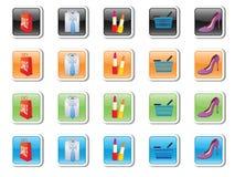 Vector pictogrammen op aankopen en toebehoren Stock Fotografie