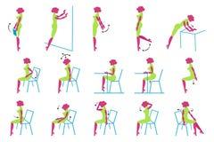 Vector Pictogrammen van de dame van de Aantrekkingskracht in bureau vector illustratie