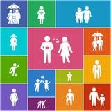 De pictogrammen van de familie en van vrienden Stock Illustratie