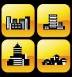 Vector pictogrammen van gebouwen Stock Fotografie
