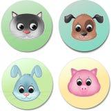Vector pictogramreeks van het leuke dierlijke gezichten glimlachen Stock Foto