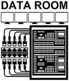 Vector pictograph of data room or storage server room. At work with computers, networking cables for storage and backup of data with high security Royalty Free Stock Images