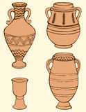 Vector picture of ancient vases with geometric ornament. Vector monochrome hand-drawn picture of ancient vases and bowls painted geometric ornament  on a light Stock Photos