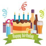 Vector picture with birthday cake, drinks and gifts Royalty Free Stock Images
