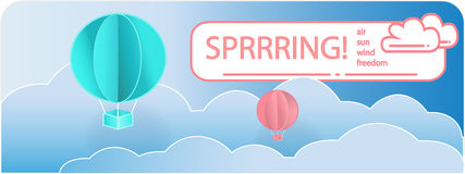 Vector picture. Blue background for banner with blue and red balloons and clouds in origami style. Stock Photo