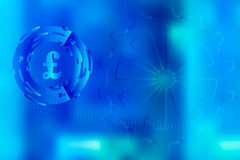 Vector picture with blurred background on for illustration of movement in digital business with binary code and pound sterling sym Stock Photography