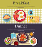 Vector picture of breakfast, dinner at restaurant Stock Photos