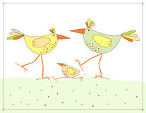 Vector picture with chicken family Royalty Free Stock Photos