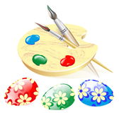 Vector picture of the composition of Easter eggs and a palette with brushes and paints. Vector illustration EPS 10 Stock Photography