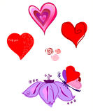 Vector a picture by Day of St. Valentine. Hearts, flowers, the butterfly Royalty Free Stock Image