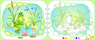 Vector picture with a dreaming frog, butterflies and lotus Stock Photos