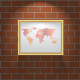 Vector picture frame on brick wall. Picture frame on brick wall background Stock Images
