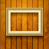 Vector picture frame on wall. Vector gold picture frame on wooden wall Royalty Free Stock Photo