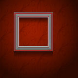Vector picture frame on wall. Vector picture frame on vintage grunge red wallpaper Royalty Free Stock Image