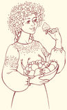 Vector picture. Girl in a lush wreath holding bowl of berries Royalty Free Stock Photo