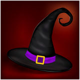 Vector picture of Halloween realistic witches hat. Illustration on nice background Stock Photos