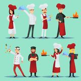 Chefs of different cuisines in icon set. Vector picture of icons showing chefs of various world cuisines on blue background Royalty Free Stock Photo