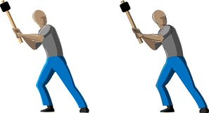 Vector picture of man working with hammer in 2 options- with outlines and without outline royalty free illustration