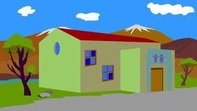 Background to the animation school in the village. Vector picture, the picture shows a village school, on a beautiful background Stock Photography