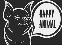 Vector picture of pig. Hand drawn vector illustration, eps 10 Stock Image
