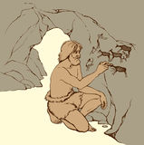 Vector picture. Primitive man draws on stone wall of cave. Outline doodle drawn image. Archaic aged male person in loincloth of fur animal skin draw in charcoal Royalty Free Stock Images