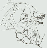 Vector picture. Primitive man draws on stone wall of cave. Vector outline image. Primitive old man in loincloth of furry animal skin draws in charcoal on stone Royalty Free Stock Image