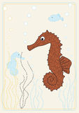 Vector picture with seahorse Stock Photography