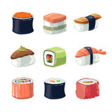 Vector picture set of Sushi rolls food Stock Photo