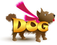 Vector picture, a shaggy, fluffy small brown dog dressed with a scarf Stock Images