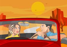 Men and wife travelling by car. Vector picture, the picture shows a married couple who travels by car on a journey Royalty Free Stock Images
