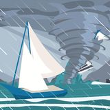 Vector picture the storm caught yachts the ocean royalty free illustration