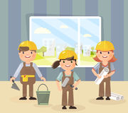 Vector picture in the style of the flat. Repair and a team of repairmen in helmets, they are going to do repairs and construction Stock Photo